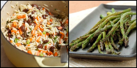 orzo salad and asparagus