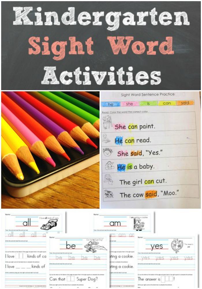 kindergarten sight word activities - Kindergarten Sight Word Activities