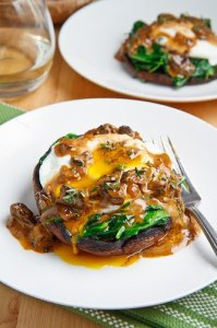 Roasted Portobello Mushroom with Poached Egg in a Creamy Mushroom Sauce 500 9804
