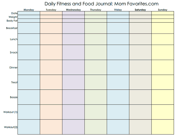 Printable Food And Exercise Journal Food and fitness printable jpg