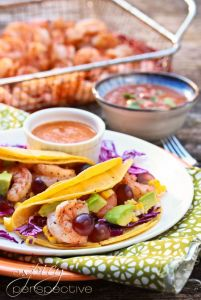 shrimp grape tacos