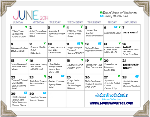 june 2014 menu plan month of meals