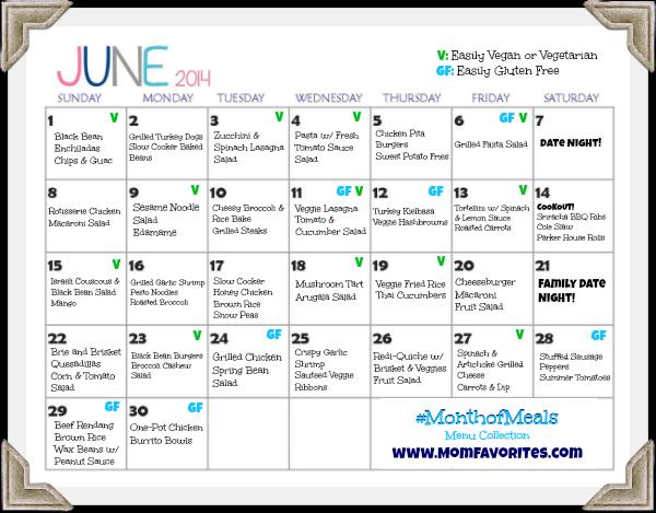 june 2014 menu plan month of meals