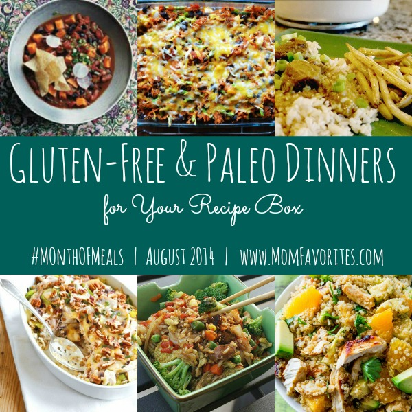 Gluten Free & Paleo Dinners - Month of Meals: www.MomFavorites.com