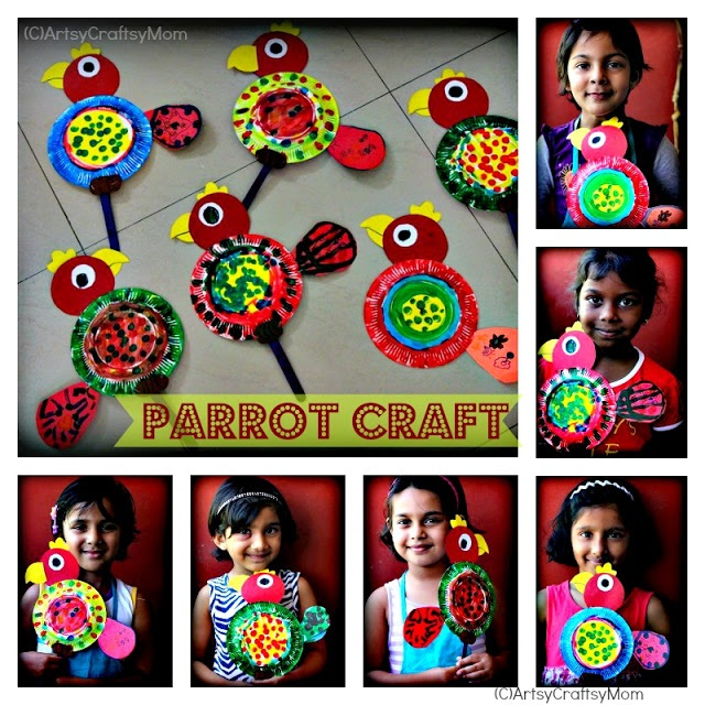 DIY Paper Plate Parrots - a Great Playdate Craft! - Mom Favorites