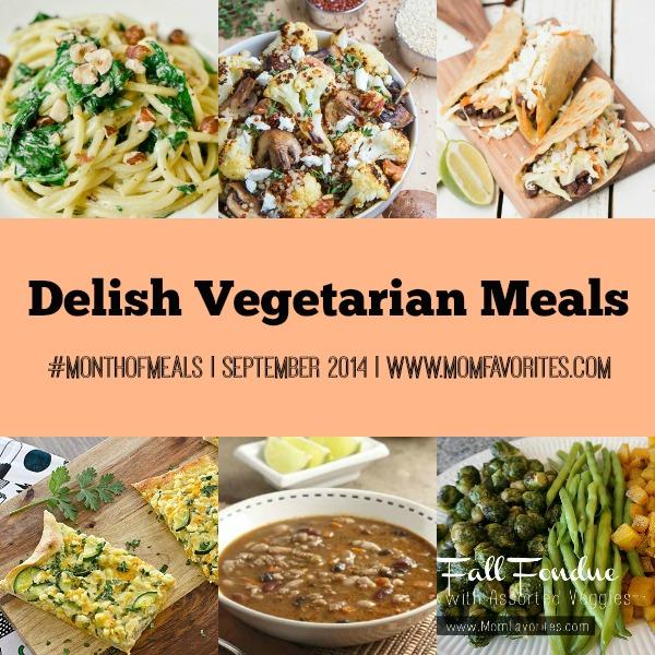 Vegetarian & Vegan Meals: Month of Meals - www.MomFavorites.com