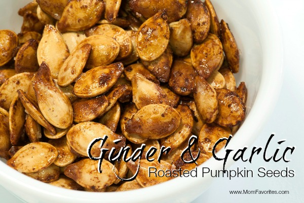 Ginger and Garlic Roasted Pumpkin Seeds, www.momfavorites.com