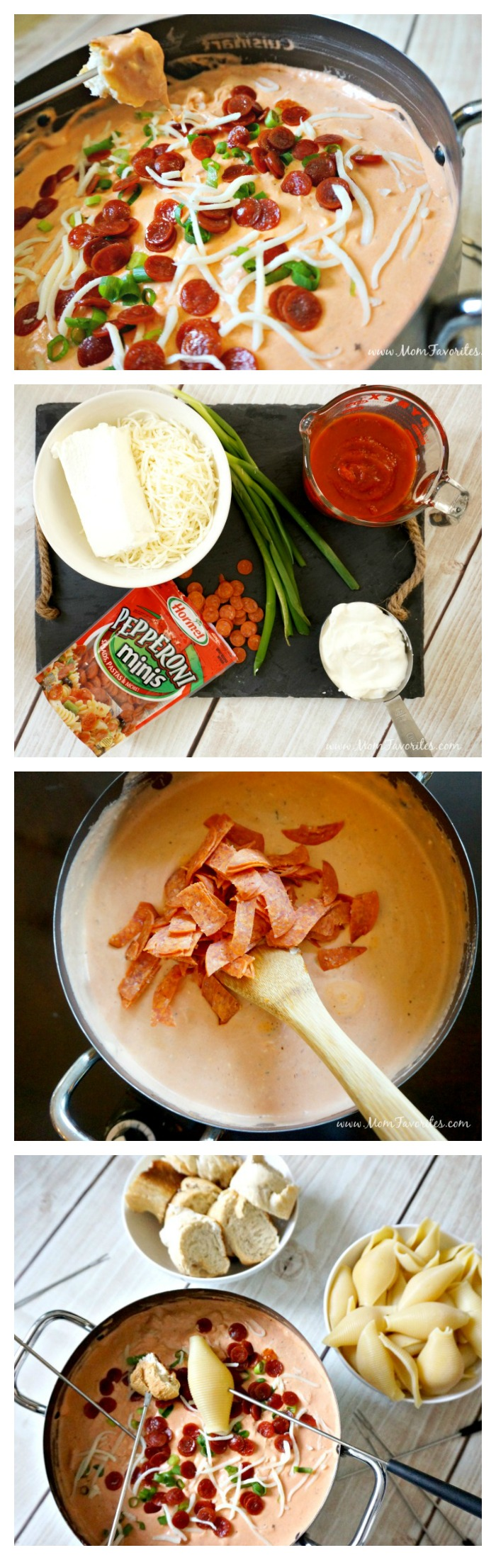 Pizza Fondue with Noodles and Bread for dipping! A new family friendly recipe for holiday entertaining featuring pepperoni!
