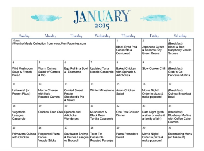January #MonthofMeals Menu Collection - a monthly menu of great eating!