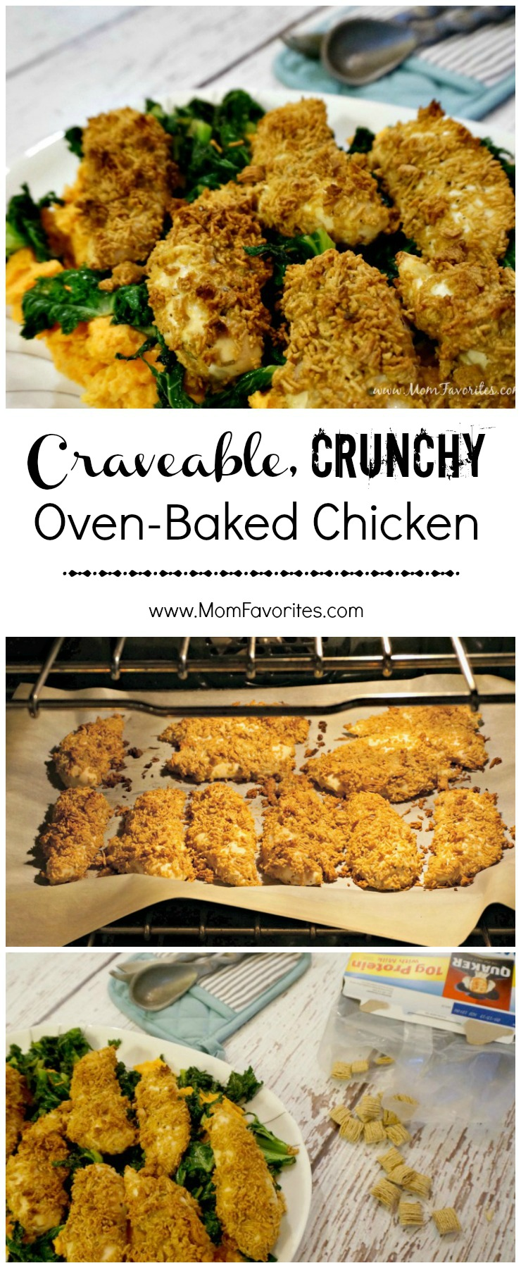 Winner, Winner Chicken Dinner! Don't forget to PIN this Crave-able Crunchy Oven Baked Chicken Recipe!  A secret ingredient makes this chicken dinner recipe stand out from the rest!