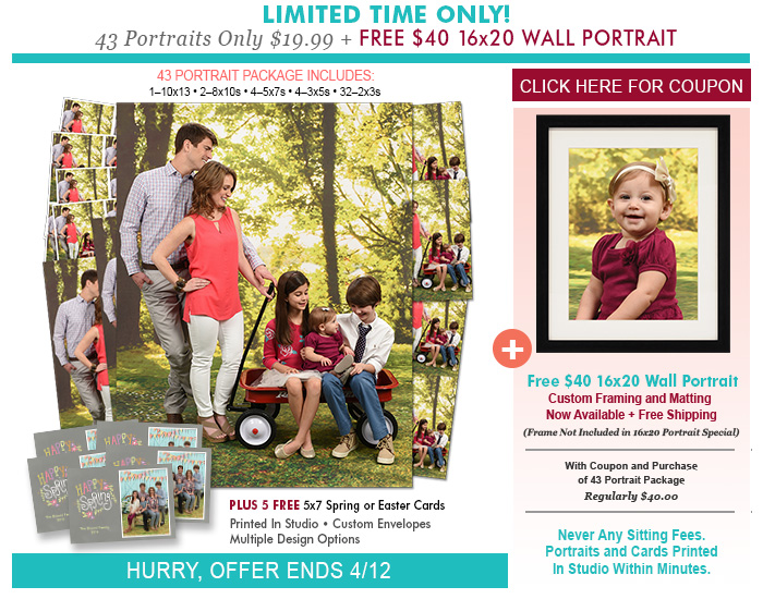 Free Easter Bunny Pictures with Portrait Innovations - don't miss out on getting free pictures with the kids Monday, March 16th.  See post for more details!