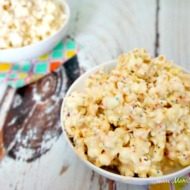 Viewing Party Playdate + White Chocolate Cheesecake Popcorn