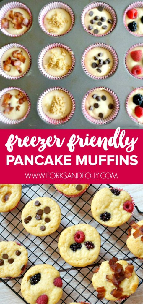 Mix and match your favorite toppings to make these freezer-friendly pancake muffins.  Whip these up on the weekend and you'll have breakfast ready to grab-and-go during the hectic week ahead.  Perfect for the busy back-to-school season!