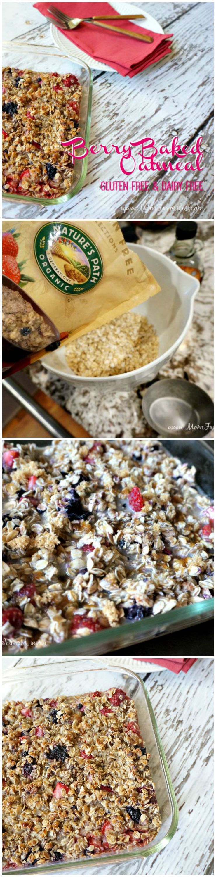 Gluten Free and Dairy Free meets delicious in this make-ahead Berry Baked Oatmeal recipe.  It's the perfect breakfast recipe for any diet!