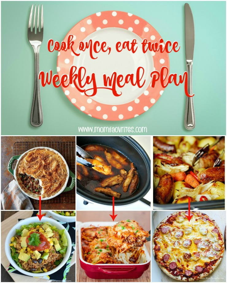 A weekly meal plan full of cook once eat twice meals! Busy weeknight dinners have never been so easy. Check out the weekly meal plans on www.momfavorites.com