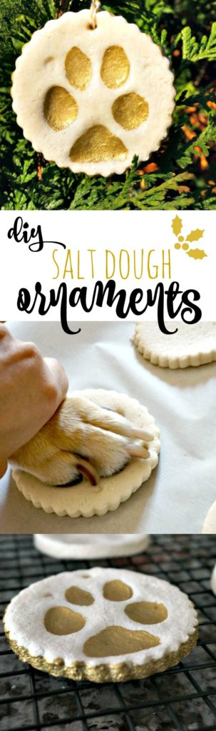 Celebrate your pet this holiday season with this easy recipe DIY Pup Paw Salt Dough Ornaments. It's so easy, Katie can do it! :)