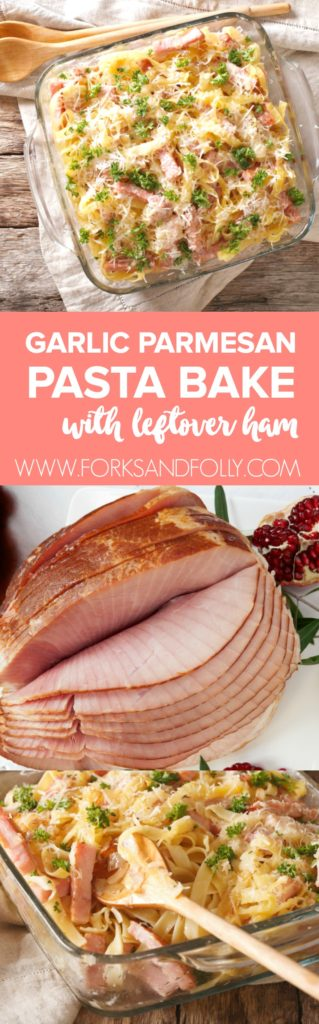 Use up holiday leftovers in this easy garlic parmesan pasta bake.  Perfect for leftover ham from you Easter dinner!