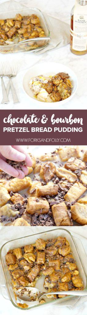 Chocolate Bourbon Pretzel Bread Pudding
