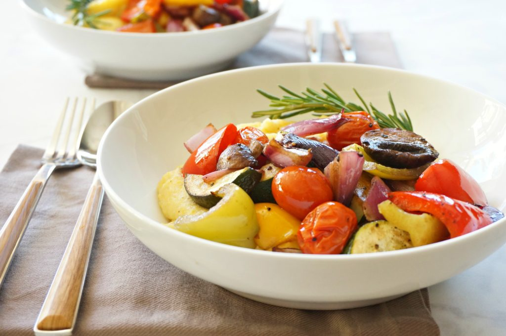 Balsamic Roasted Vegetables with Goat Cheese Polenta - one of the Forks and Folly Eat Once, Cook Twice Recipes.