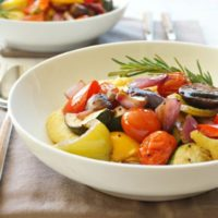 Balsamic Roasted Vegetables and Goat Cheese Polenta