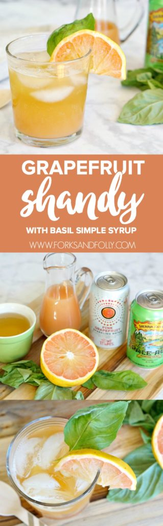 Gear up for the weekend with this amazing grapefruit shandy recipe. Make the basil simple syrup for this beer cocktail in advance for easy entertaining.