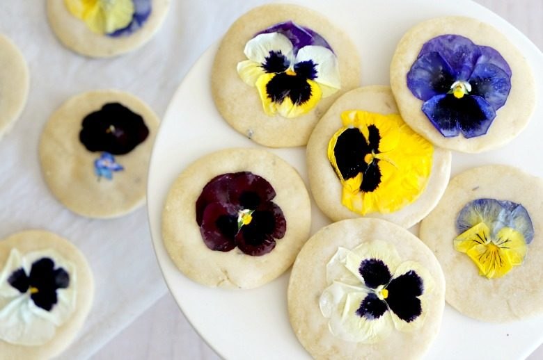 The perfect cookie for your spring menu: You'll want to try these delicious Lavender Shortbread Cookies decorated with edible flowers! Enjoy with a cup of tea at your Easter or Mother's Day celebration.
