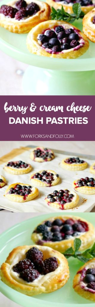 Serve these Berry & Cream Cheese Danish Pastries for breakfast, snack or dessert!  With seasonal fruit, sweetened lemon cream cheese and golden puff pastry, these will become one of your go-to spring recipes!