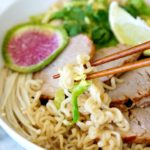 Easy Pork Tenderloin Ramen Bowl with Brussels Sprouts and Enoki Mushrooms