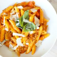 One Pot Pasta with Sausage and Basil