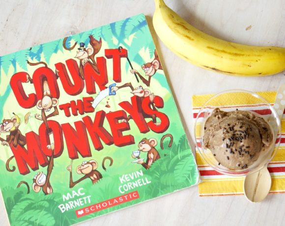 "Celebrate the silliness of ""Count the Monkeys"" by Mac Barnett with this four-ingredient, healthy, banana ice cream recipe! A clean-eating, guilt-free and no-churn ice cream your whole family will love! From the popular Kitchen Stories series on Forks and Folly."
