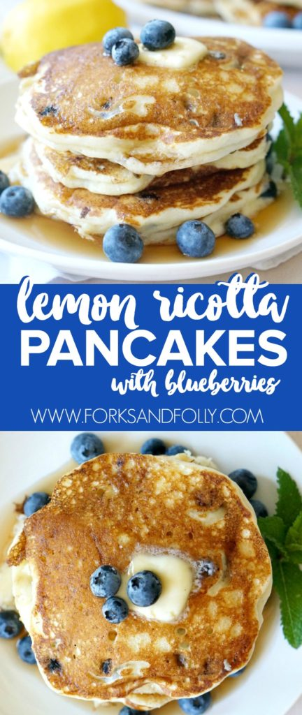 These Lemon Ricotta Pancakes with Blueberries are the perfect weekend breakfast! Freeze extras for busy weekday mornings. So good, you might even plan on having leftover ricotta cheese just for this recipe