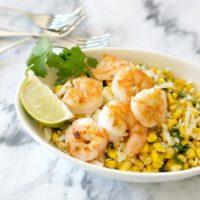 Charred Corn Salad with Honey Lime Shrimp