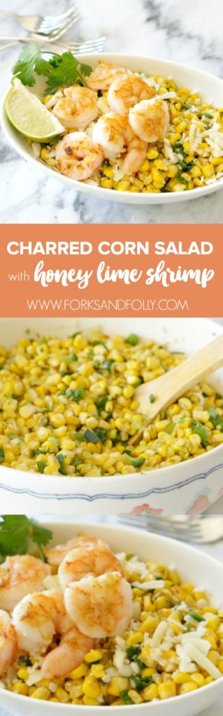 This Charred Corn Salad with Shrimp just screams summer!  With fresh sweet corn, peppers and grilled shrimp, this light and heathy dinner is naturally gluten-free and dairy-free, too!