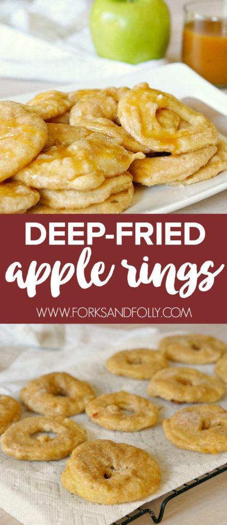 With classic apple pie flavors, these Deep Fried Apple Rings will be your family's favorite dessert of the summer! Tart granny smith apples, batter with loads of apple pie spices, and a creamy salted caramel topping will have your summer BBQ guests swooning!