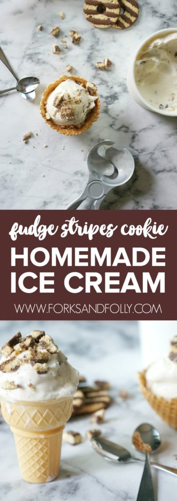 Summer is sweeter with this Fudge Stripes Cookie Homemade Ice Cream recipe! With only a few ingredients, you'll have a homemade ice cream that is the right amount of sweet and creamy, and which stars your favorite cookies from childhood.