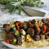 Balsamic Herb Steak Kebabs & Garlic Butter Rice