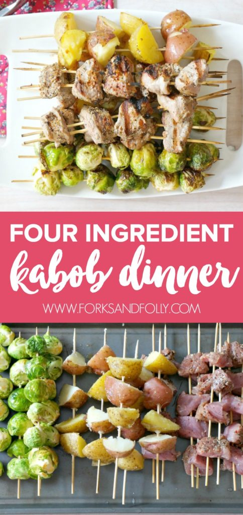 With just four ingredients, this dish is not only easy to make, but delicious and easy to clean up!  Be sure to make this Four Ingredient Pork Kabob Dinner on the grill for your family this summer!