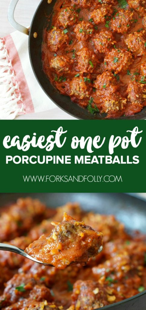 I'm revisiting one of my favorite childhood dishes with this easy One Pot Porcupine Meatballs recipe. Easy to prep and as delicious as ever, you'll want to add this recipe to your weekly meal plan rotation!