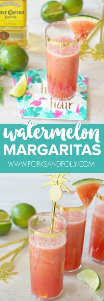 Don't let summer slip by without trying these delicious four-ingredient watermelon margaritas!  This is the perfect cocktail for your summer parties!