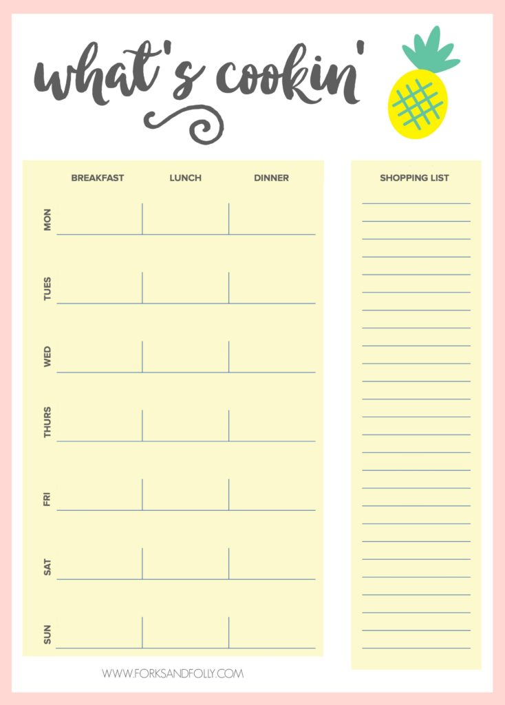 Take the hassle out of planning your meals and shopping list by making the process enjoyable.  With your favorite foodie magazine and this free weekly meal planning printable, you'll be prepared and ready to take on dinner for the fam!