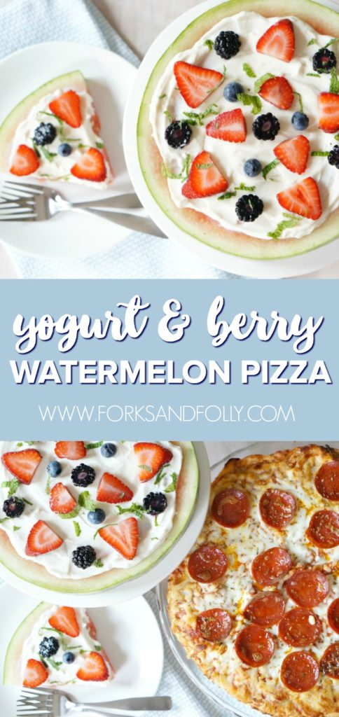 Enjoy family dinners despite the insanity with this fun Family Pizza Night complete with your favorite pizza and this so-easy Watermelon Pizza with Yogurt and Berries for dessert!