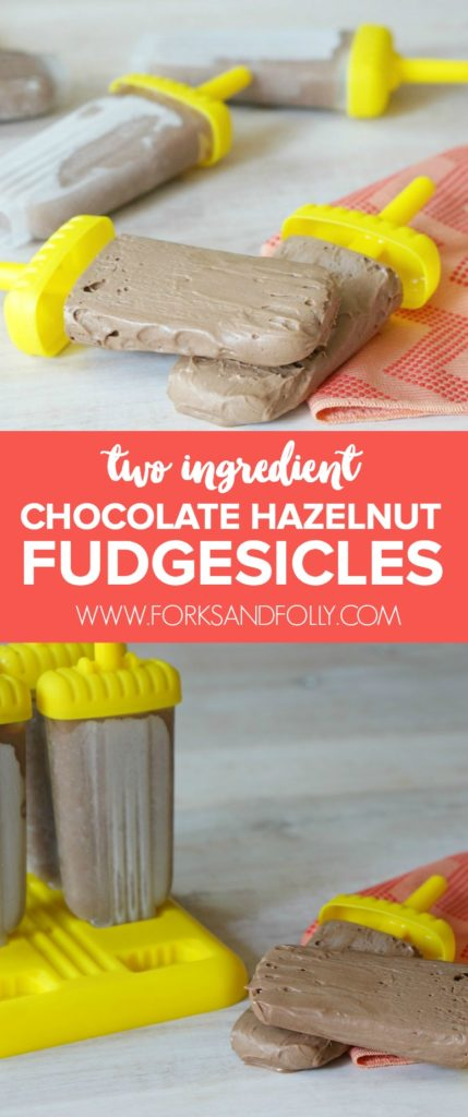 Celebrate the last hoorah of summer with super decadent Two Ingredient Chocolate Hazelnut Fudgesicles.  Darn right delicious and just a tad messy, they're the perfect treat to cap off the summer.  It's Week #21 of the #52WeeksofSweets series.