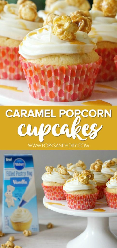 Have your cupcakes and popcorn too with these totally over the top caramel popcorn cupcakes!  They're the perfect movie night and carnival themed treat!