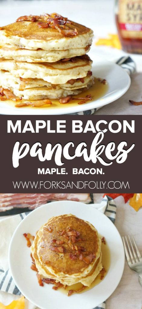 Not a breakfast person?  You haven't had our Maple Bacon Pancakes recipe, have you?  With bacon in the batter and sprinkled on top plus maple syrup throughout, THIS is the sweet-salty combo to start your day!