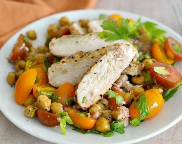 Grilled Chicken with Roasted Chickpeas and Tomato Salad