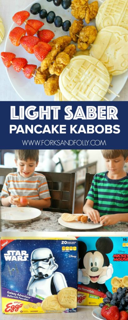 May the force meet you at your kitchen table!  Light Saber Kabobs stacked with Eggo pancakes, chicken nuggets, fruit, and maple syrup are the perfect meal solution for busy Star Wars lovin' families!