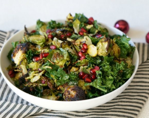 Charred Brussels Sprout and Kale Salad