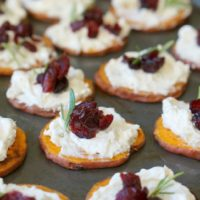 Sweet Potato Crostini with Blue Cheese and Cranberries