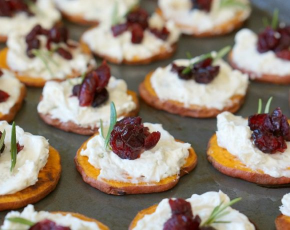 Sweet Potato Crostini with Blue Cheese & Cranberries