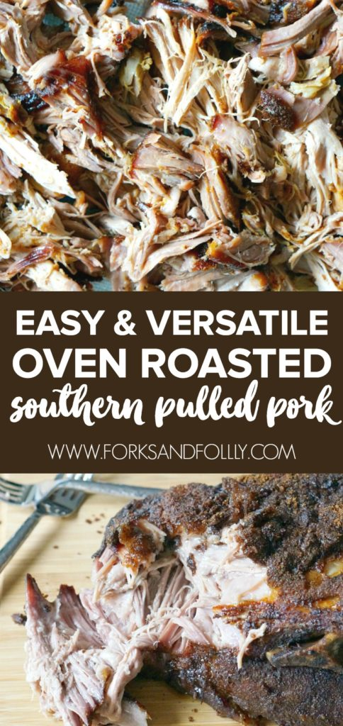 Oven Roasted Pulled Pork for a Crowd! My favorite Southern dish, gets the winter treatment... with the perfect brine and dry rub spice blend. Perfect for large groups during the holiday season.